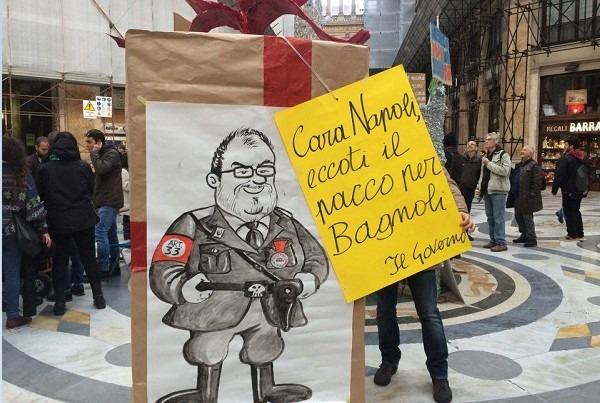 """Bagnoli, la protesta anti commissario dei comitati: """"No al 'pacco' Nastasi"""""""