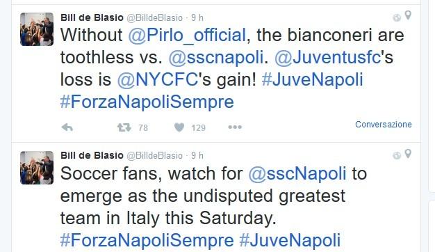 """Il paisà de Blasio non si nasconde: """"Juve senza mordente, Forza Napoli, la squadra più forte"""""""