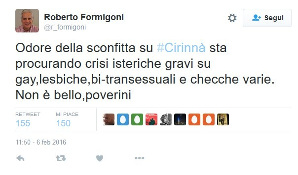 """I moderati della maggioranza di Renzi, Formigoni prevede flop Cirinnà: """"Crisi isteriche per gay e checche"""""""