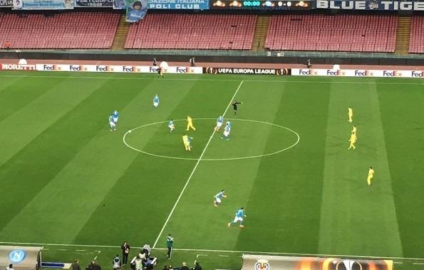 Napoli-Villareal 1-0 al 45′: azzurri martellanti, sblocca Hamsik