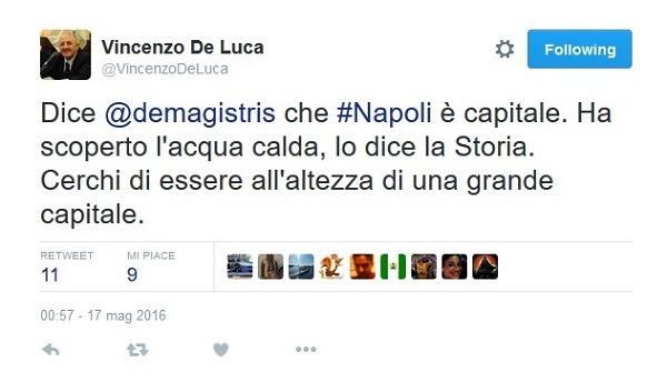 """De Luca a gamba tesa su de Magistris, assist al Pd: """"Sia all'altezza di Napoli, grande capitale"""""""