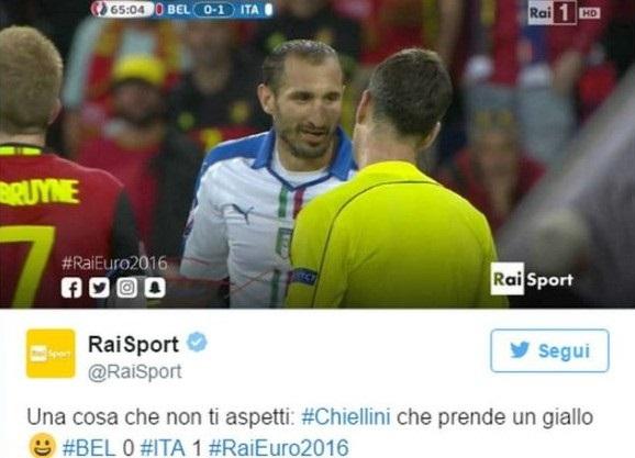 Chiellini ammonito, Raisport ironizza sull'evento: ira juventina, ma gli altri tifosi ridono