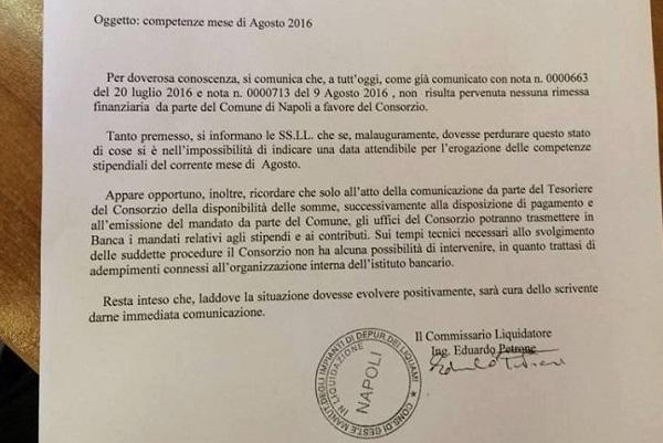 Depuratore Napoli est, niente soldi dal Comune: saltano gli stipendi di agosto