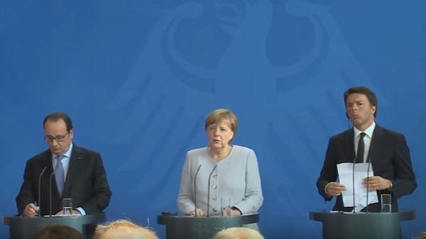 Renzi-Merkel-Hollande, parata a Ventotene per l'Europa in coma
