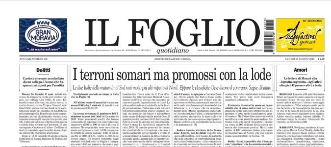 """Il Foglio attacca docenti e studenti meridionali: """"Terroni somari promossi con lode"""""""