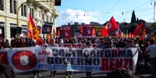 """""""No Renzi day"""", a Roma sfila il popolo del No alla riforma costituzionale"""