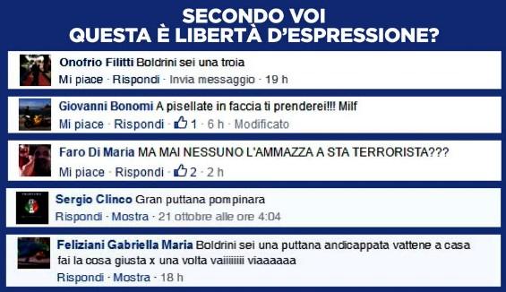 Boldrini posta nomi e insulti dei suoi haters, Facebook la contatta