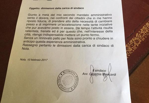 """Nola, il sindaco Biancardi si dimette: """"Serve nuovo slancio"""""""