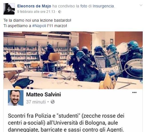 """Visita Salvini a Napoli, consigliera attacca dopo offese ai centri sociali: """"Ti diamo lezione"""""""