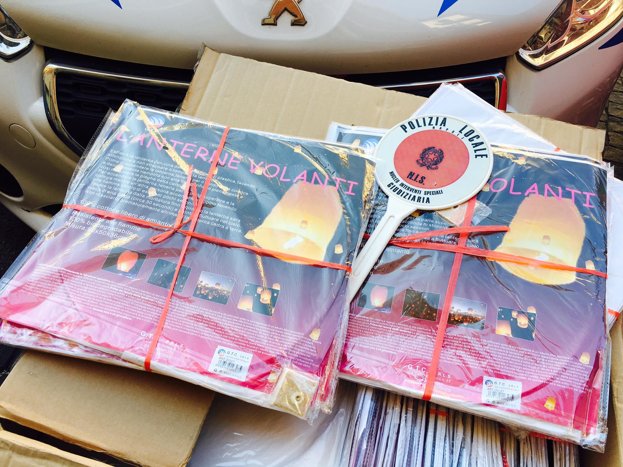 Napoli, la Polizia municipale sequestra 2 mila lanterne cinesi