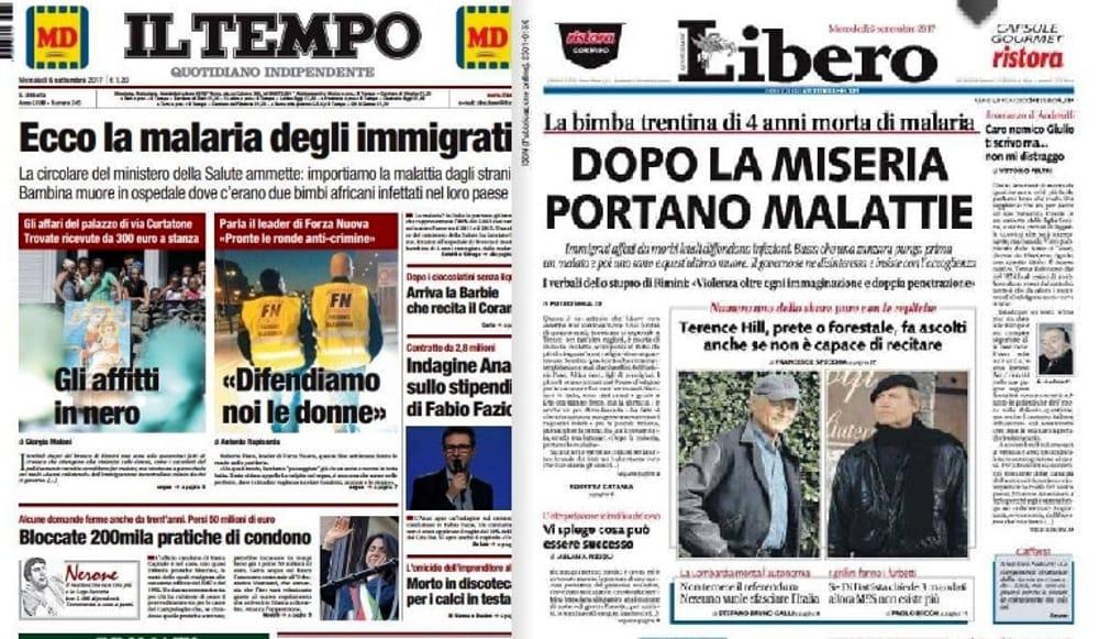 Migranti e malaria, l'Ordine dei giornalisti contro i titoli di Libero e Il Tempo