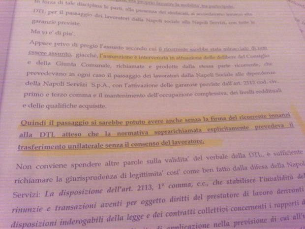 E' confermato: i lavoratori di Napoli Sociale furono ingannati dall'accordo aziendale