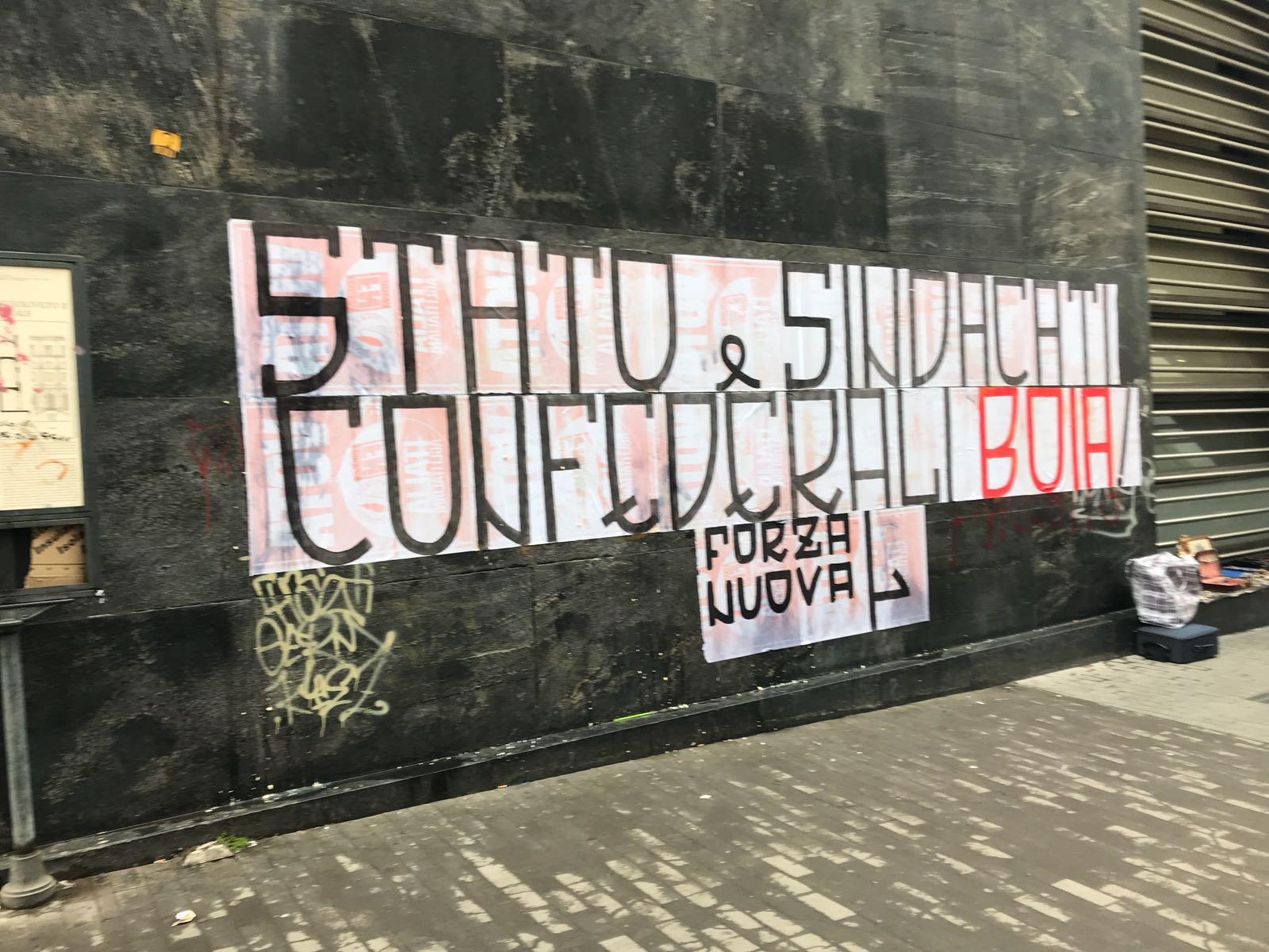 Napoli,  fascisti di Forza Nuova minacciano le organizzazioni dei lavoratori