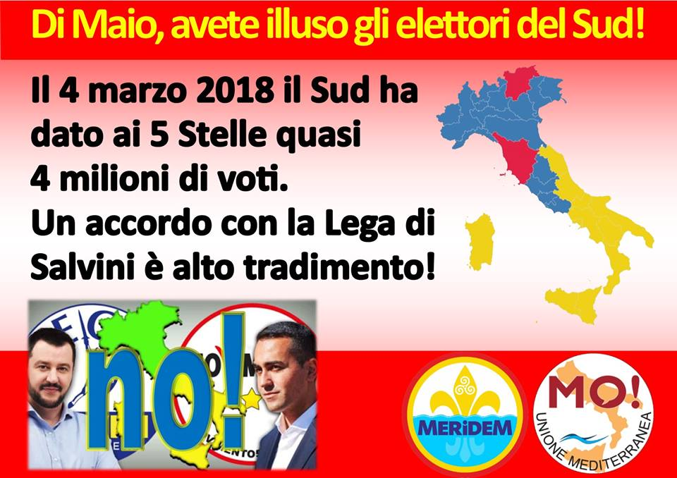 """Meridionalisti: """"Il governo Di Maio-Salvini è contro il Sud"""""""