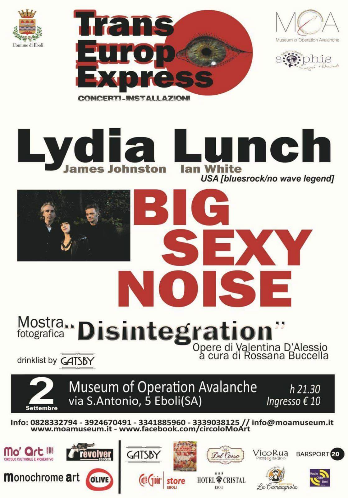 Lydia Lunch al Moa di Eboli il 2 settembre