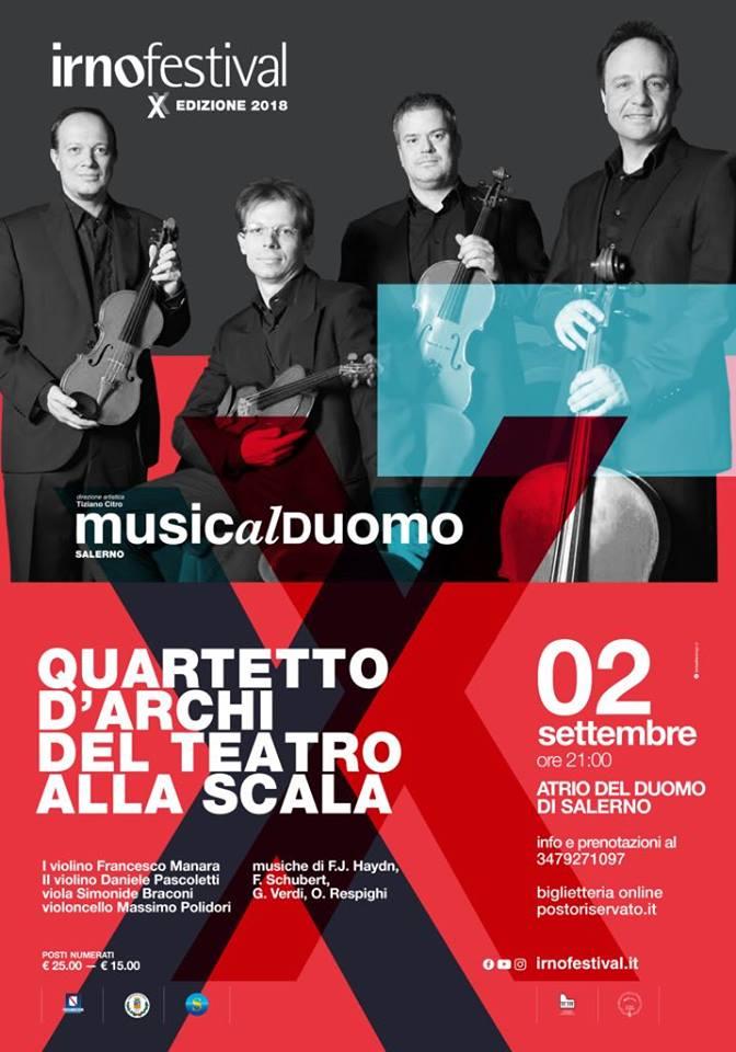 Salerno: all'Irnofestival arriva il quartetto d'archi del Teatro alla Scala