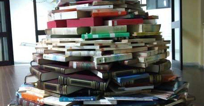 Lancusi, Salerno:  ecco l'albero di 400 libri degli studenti del 'De Caro'