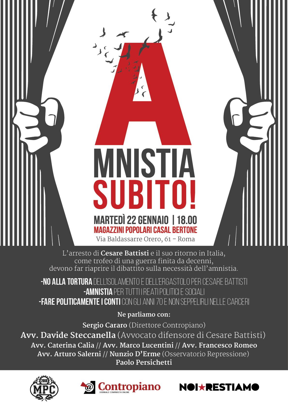 Italia, Lotte sociali anni '70: amnistia per i  detenuti politici