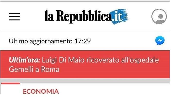 """""""Di Maio ricoverato al Gemelli"""", ma è falso. L'incredibile autogol di Repubblica"""