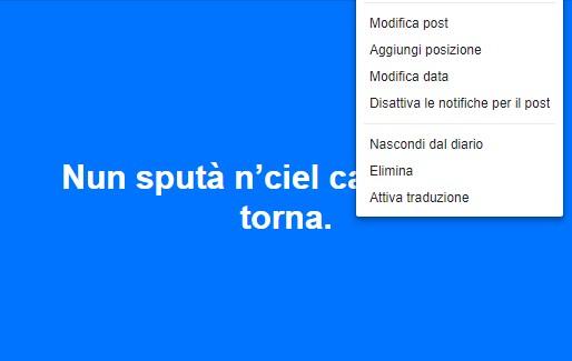 Per Facebook il napoletano è una lingua, attivato il traduttore?