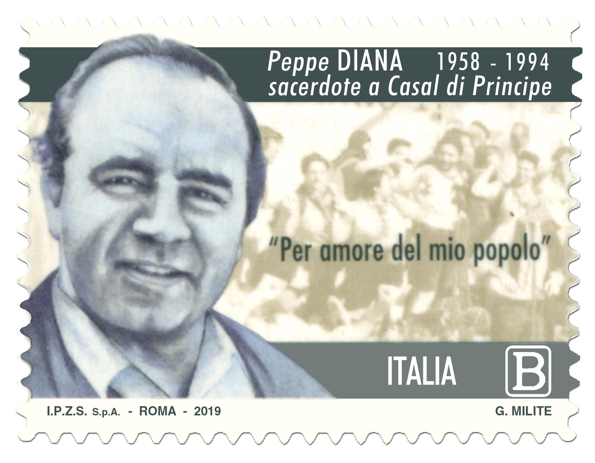 Oggi Poste Italiane ha emesso un francobollo dedicato a don Peppino Diana