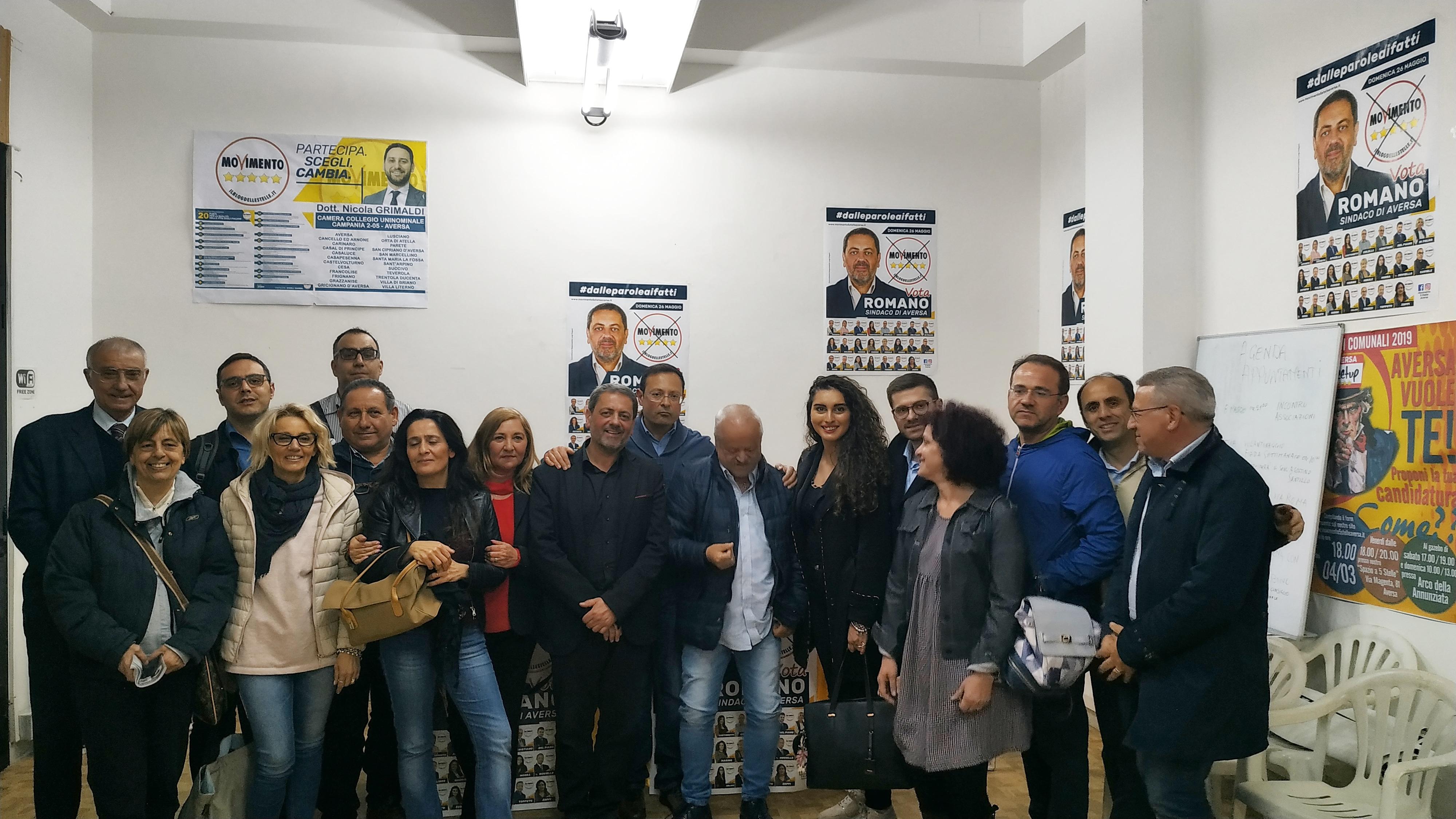 """Aversa: Romano, Movimento 5 Stelle: """"Le associazioni saranno con noi al governo della città"""""""