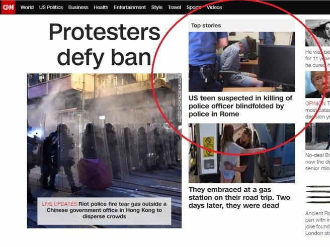 """Carabiniere ucciso, giornali americani sulla foto del ragazzo bendato: """"atto illegale"""""""