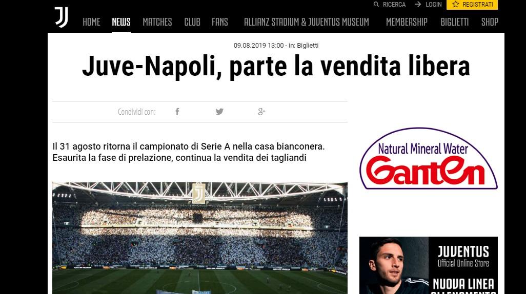 Biglietti per il Napoli, retromarcia Juve: cancellato divieto ai nati in Campania