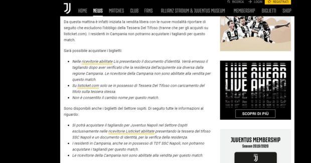 Biglietti Juve-Napoli, un anno fa vendibili a nati in Campania: club di Agnelli smentito