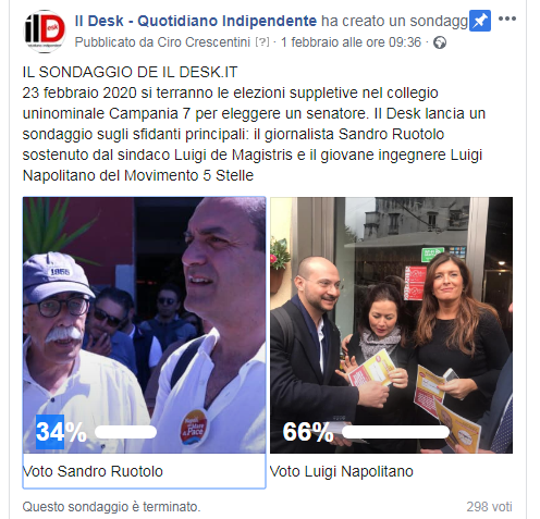 Suppletive, sondaggio IlDesk.it: vince Napolitano (M5s)