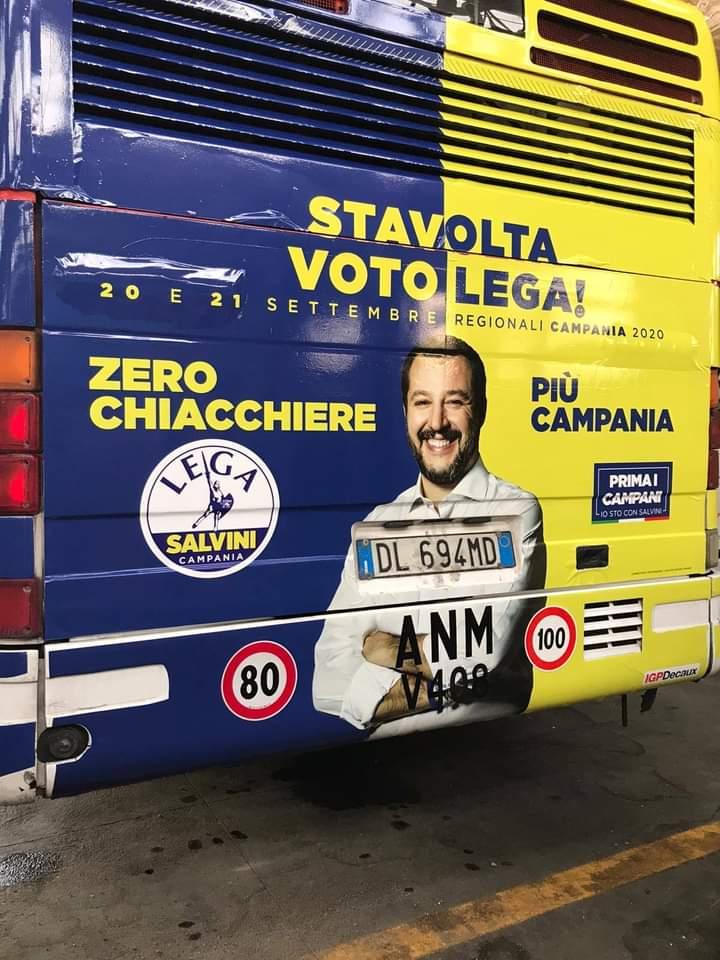 Napoli, spot Salvini sui bus Anm: è bufera