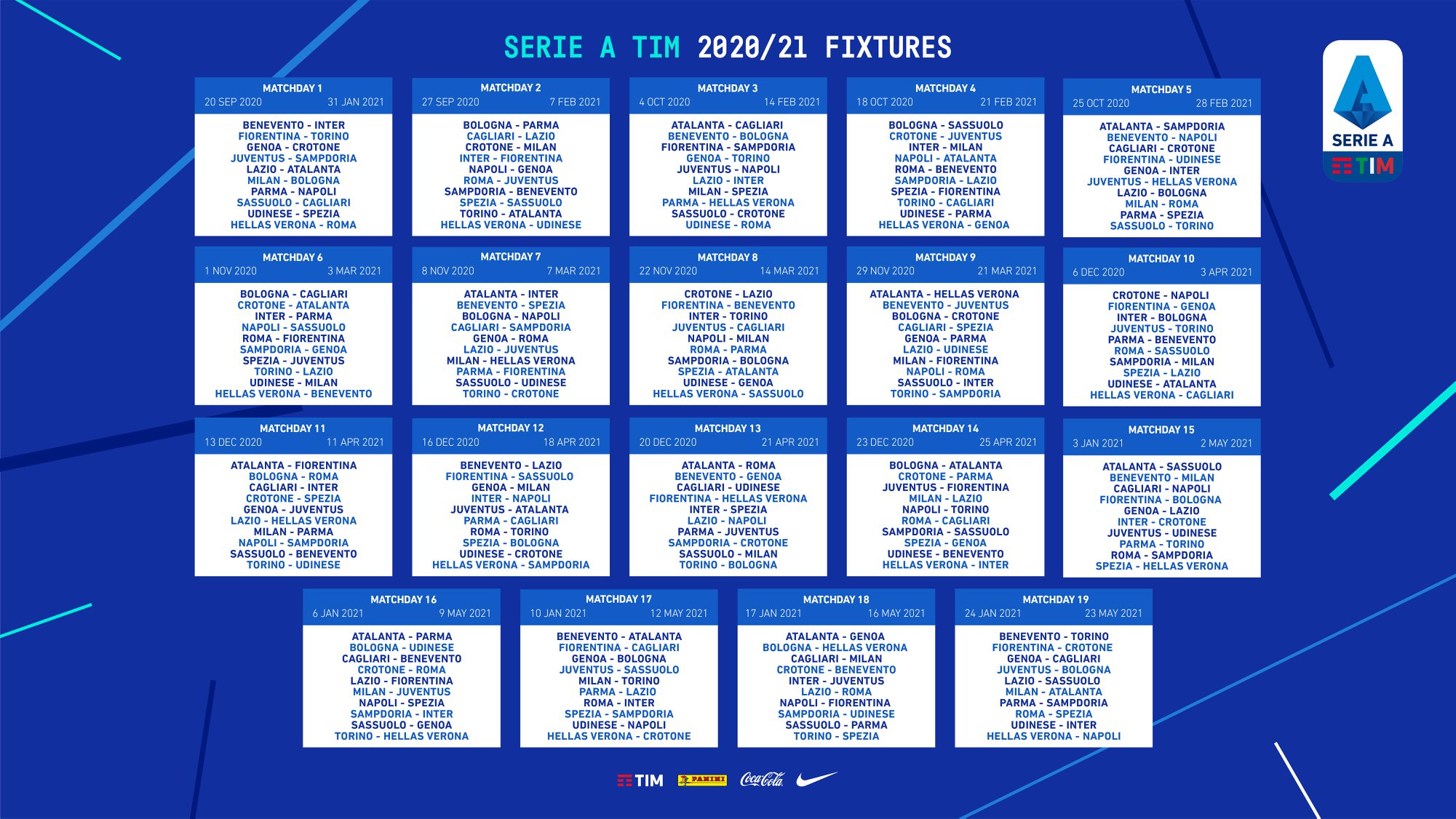 Calendario Serie A: il Napoli inizia a Parma, Juve alla terza